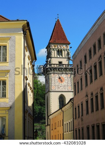 historical buildings in    Passau, germany  - stock photo
