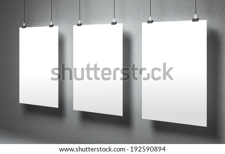 ?hite blank poster on a gray surface. Template for advertising or other images. 3d illustration - stock photo