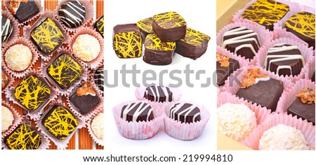 ��¡hocolate sweets isolated on white. collage - stock photo