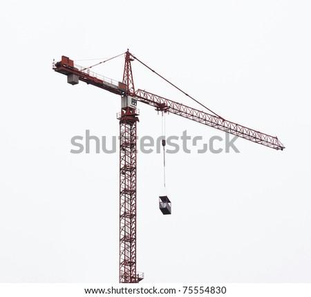 hoisting crane isolate on white background - stock photo