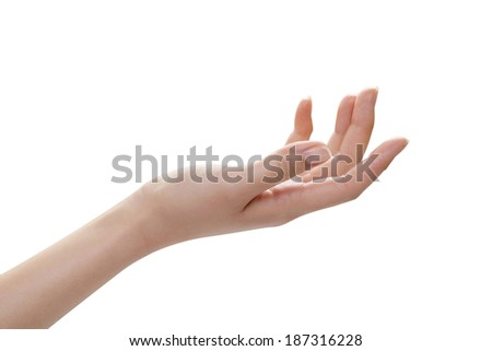 Holding something in the hand, isolated on white background. - stock photo
