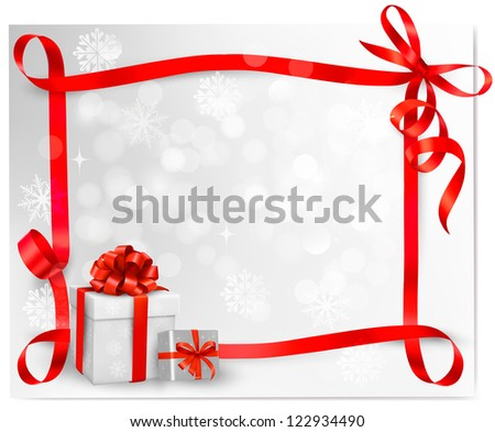 Holiday background with red gift bow with gift boxes. Raster version of vector. - stock photo