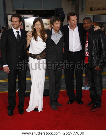 """03/06/2010 - Hollywood - Bradley Cooper, Jessica Biel, Sharlto Copley, Liam Neeson and Quinton Jackson at the World premiere of """"The A-Team"""" held at the Grauman's Chinese Theater in Hollywood.  - stock photo"""