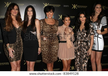 8-17-11, Hollywood, CA - Kim, Khloe, Kris, & Kourtney Kardashian, with Kylie & Kendall Jenner. Kardashian Kollection Launch Party at The Colony. By: Kevan Brooks/AdMedia - stock photo