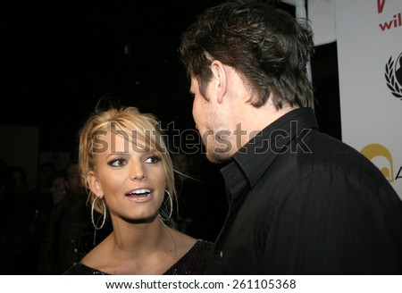 02/11/2005 - Hollywood - Jessica Simpson and Nick Lachey at the Tsunami Benefit Concert and Launch Event for the Will.I.am Music Group at Avalon.  - stock photo