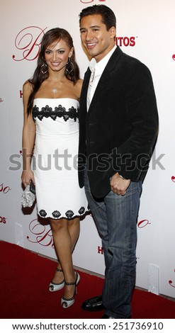 06/03/2008 - Hollywood - Karina Smirnoff and Mario Lopez arrive to the opening of Beso Restaurant held at the Beso in Hollywood, California, United States.  - stock photo
