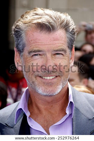 """17/04/2010 - Hollywood - Pierce Brosnan at the Los Angeles Premiere of """"Oceans"""" held at the El Capitan Theater in Hollywood, California, United States.  - stock photo"""