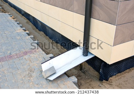home foundation  construction and thermal insulation material  - stock photo