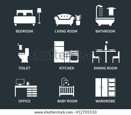 Home Interior Design Icons Bedroom Living Stock Vector ...