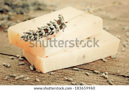 Home-made soap with lavender (vintage ) - stock photo