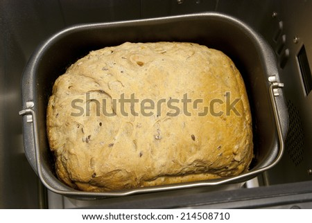 Homemade bread in the bread maker - stock photo
