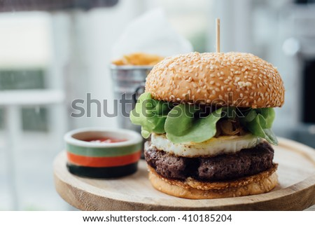 homemade meat burger  - stock photo