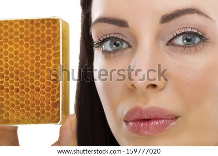 homemade organic facial masks of honey - stock photo