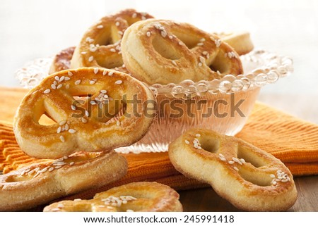 Homemade Soft Pretzels - stock photo