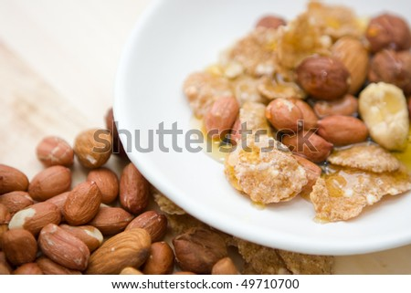 Honey and nuts for cake