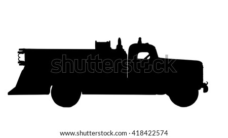hook and ladder firetruck silhouette isolated over a white background with a clipping path at original size - stock photo