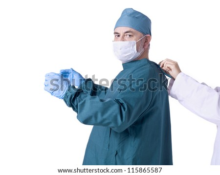 Horizontal and close up image of male nurse on his operation uniform