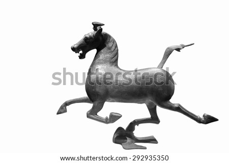 """horse stepping on flying swallow"" was a wonderful masterpiece of the bronze sculptures in han dynasty, China, now is a chinese tourism sign, clipping path - stock photo"