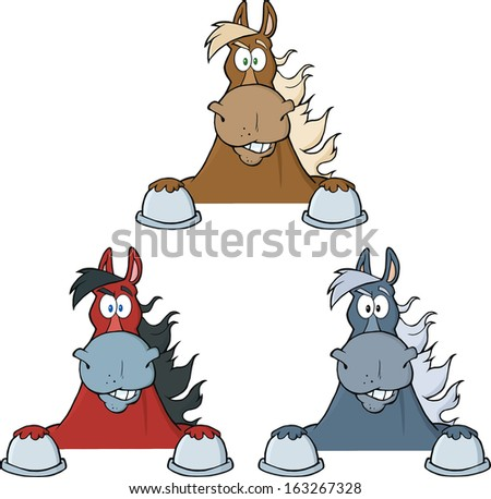 Horses Cartoon Character Looking Over A Sign. Raster Collection Set - stock photo