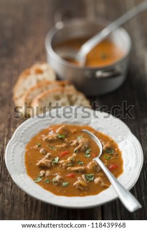 Hot chicken pepper stew close up shoot - stock photo