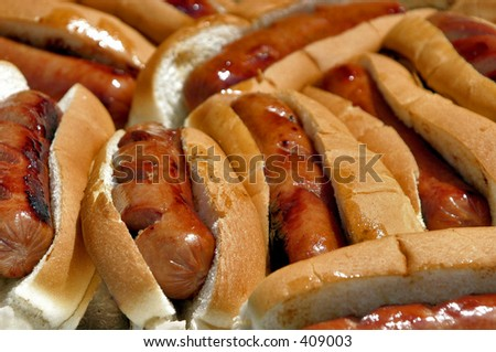 """""""Hot Dogs in Buns"""" - stock photo"""