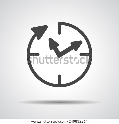 24 hour assistance , clock Icon Isolated on grey Background - stock photo