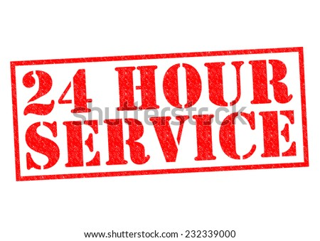 24 HOUR SERVICE red Rubber Stamp over a white background. - stock photo