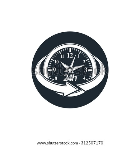 24 hours-a-day concept, clock face with a dial and an arrow around. Day-and-night interface icon, for use in web design.   - stock photo