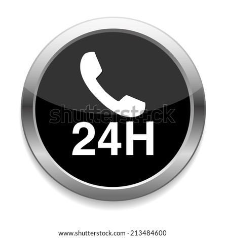 24 hours a day icon - stock photo