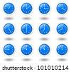 12 hours analog clocks set for world time zone - stock photo
