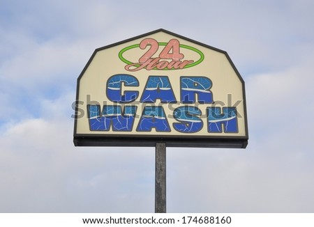 24 Hours Car wash signage - stock photo