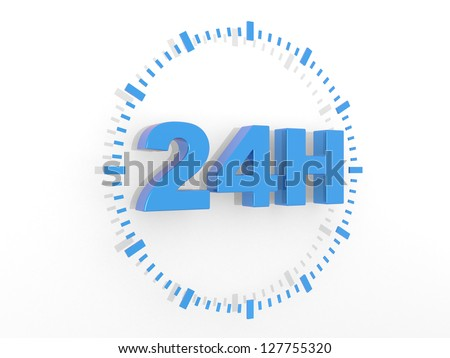 24 hours delivery sign - 3d render illustration - stock photo