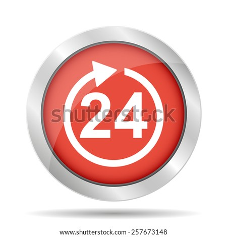 24 hours icon. Flat  - stock photo