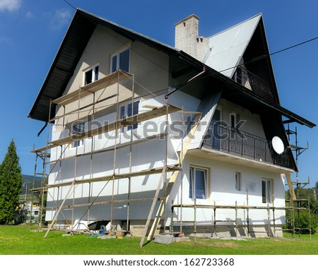 House having thermal insulation installed. - stock photo