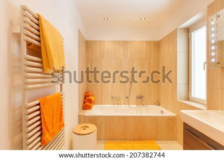 house, modern architecture, interior, bathroom - stock photo