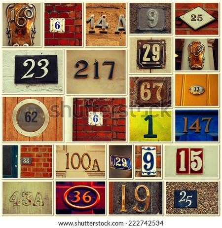 House numbers -Vintage Collage - stock photo