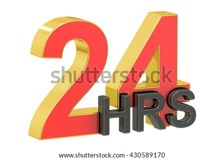 24hrs concept, 3D rendering isolated on white background