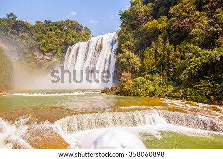Huangguoshu waterfalls scenery. They are China's largest waterfalls. It is located in the Anshun, Guizhou, China. - stock photo