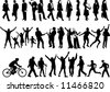 34 human figure silhouettes in different actions. Also available in vector format - stock photo