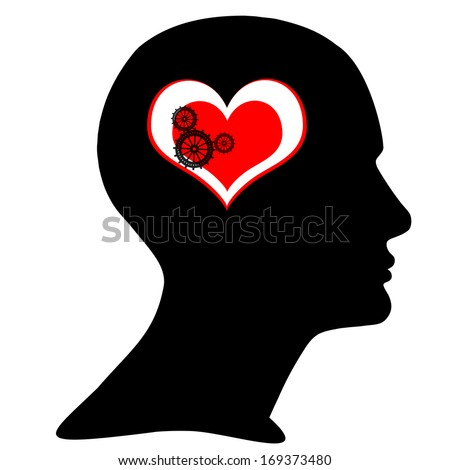 human head with black gears,heart, and white background - stock photo