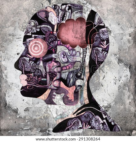 human head with drawings , copyspace for text and wall background - stock photo