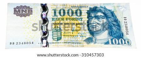 1000 Hungarian forints bank note. Hungarian forint is the national currency of Hungary