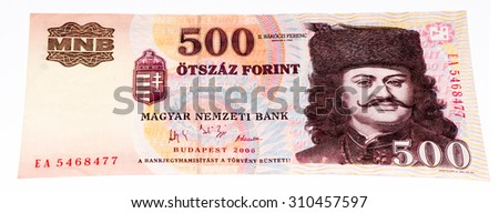 500 Hungarian forints bank note. Hungarian forint is the national currency of Hungary