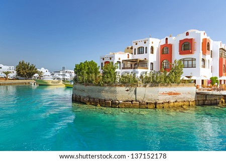 Hurghada harbor in Egypt - stock photo