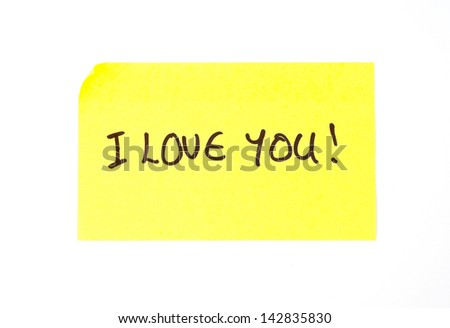 'I Love You' written on a yellow sticky note - stock photo