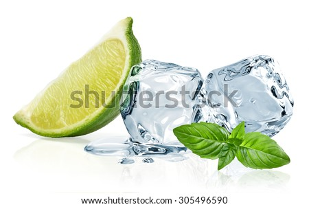 Ice cubes,lime wedge and basil leaves isolated on white background  - stock photo
