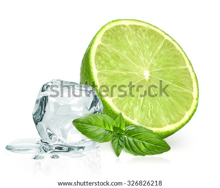 Ice cubes,lime wedge and basil sprig leaves isolated on white background  - stock photo