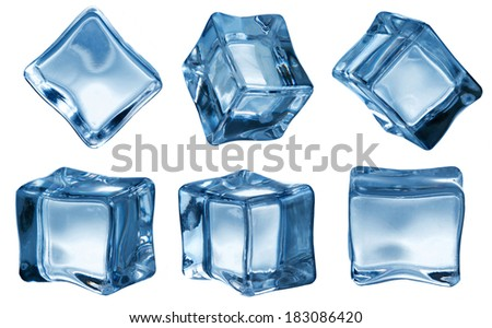 ice cubes on white background - stock photo