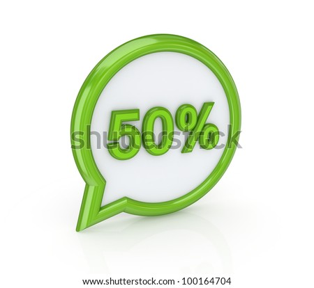 50% icon.Isolated on white background.3d rendered. - stock photo
