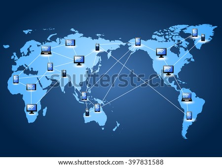 icon with line link on world map (social network concept) - stock photo